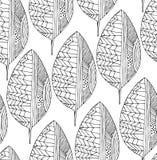 Άνευ ραφής σχέδιο σχεδίων με τα διακοσμητικά φύλλα Διανυσματική τέχνη γραμμών απεικόνιση αποθεμάτων