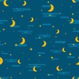 Άνευ ραφής σχέδιο σχεδίων νυχτερινού ουρανού Repeti φεγγαριών, αστεριών και σύννεφων Στοκ Εικόνα