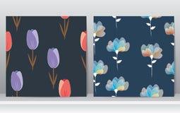 Άνευ ραφής σχέδιο σχεδίων λουλουδιών Στοκ Φωτογραφία