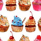 Άνευ ραφής σχέδιο σχεδίων Cupcakes Στοκ Εικόνες