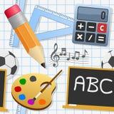 Άνευ ραφής σχέδιο σχολικής εκπαίδευσης Στοκ Εικόνες