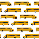 Άνευ ραφής σχέδιο σχολικών λεωφορείων Στοκ Εικόνες