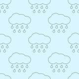 Άνευ ραφής σχέδιο σύννεφων περιλήψεων διανυσματικό βροχερό απεικόνιση αποθεμάτων