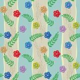 Λουλούδια και φύλλα διακοσμήσεων στα λωρίδες Στοκ Εικόνα