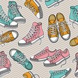 Άνευ ραφής σχέδιο σύστασης με τα πάνινα παπούτσια Στοκ Εικόνες