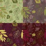 Άνευ ραφής σχέδιο τέσσερα με τα φύλλα και τα μούρα Στοκ εικόνες με δικαίωμα ελεύθερης χρήσης