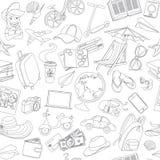 Άνευ ραφής σχέδιο ταξιδιού εικονιδίων Doodle Στοκ εικόνα με δικαίωμα ελεύθερης χρήσης