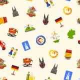 Άνευ ραφής σχέδιο ταξιδιού της Γερμανίας με τα διάσημα γερμανικά σύμβολα Στοκ φωτογραφία με δικαίωμα ελεύθερης χρήσης