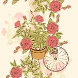 Άνευ ραφής σχέδιο ταπετσαριών με συρμένα τα χέρι τριαντάφυλλα Στοκ Εικόνες