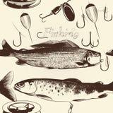 Άνευ ραφής σχέδιο ταπετσαριών με συρμένα τα χέρι ψάρια Στοκ Εικόνες