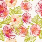 Άνευ ραφής σχέδιο ταπετσαριών με τα ζωηρόχρωμα λουλούδια Στοκ φωτογραφία με δικαίωμα ελεύθερης χρήσης