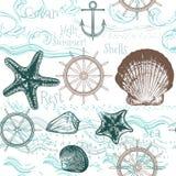 Άνευ ραφής σχέδιο ταπετσαριών με τα ζώα θάλασσας Στοκ φωτογραφία με δικαίωμα ελεύθερης χρήσης