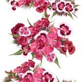 Άνευ ραφής σχέδιο ταπετσαριών με τα ρεαλιστικά ρόδινα λουλούδια Στοκ Φωτογραφίες