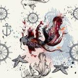 Άνευ ραφής σχέδιο ταπετσαριών με τα ψάρια που σύρονται στο ύφος watercolor Στοκ Εικόνες