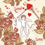 Άνευ ραφής σχέδιο ταπετσαριών με το σύμβολο ο ερωτοδουλειάς, τριαντάφυλλων και καρδιών Στοκ εικόνα με δικαίωμα ελεύθερης χρήσης