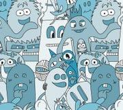 Άνευ ραφής σχέδιο τεράτων Doodle Στοκ Φωτογραφία