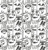 Άνευ ραφής σχέδιο τεράτων Doodle Στοκ φωτογραφία με δικαίωμα ελεύθερης χρήσης
