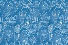 Άνευ ραφής σχέδιο τεράτων Doodle Στοκ εικόνες με δικαίωμα ελεύθερης χρήσης