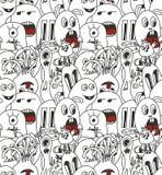 Άνευ ραφής σχέδιο τεράτων Doodle Στοκ Εικόνες