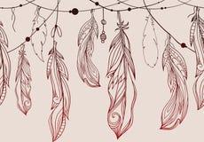 Άνευ ραφής σχέδιο της ένωσης συρμένων των χέρι φτερών ελεύθερη απεικόνιση δικαιώματος