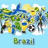 Άνευ ραφής σχέδιο της Βραζιλίας με τα αντικείμενα αυτοκόλλητων ετικεττών και Στοκ φωτογραφία με δικαίωμα ελεύθερης χρήσης