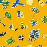 Άνευ ραφής σχέδιο της Βραζιλίας με τα αντικείμενα αυτοκόλλητων ετικεττών και Στοκ εικόνες με δικαίωμα ελεύθερης χρήσης