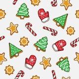 Άνευ ραφής σχέδιο της καραμέλας και των μπισκότων Χριστουγέννων εικονιδίων Στοκ Εικόνα