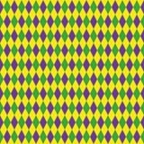 Άνευ ραφής σχέδιο της Mardi Gras με το πράσινο, πορφυρό και κίτρινο διαμάντι αφηρημένη ανασκόπηση γεωμ&epsil Παχιά Τρίτη διανυσματική απεικόνιση