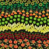 Άνευ ραφής σχέδιο τομέων Τοπίο καλλιέργειας κινούμενων σχεδίων Στοκ Φωτογραφία