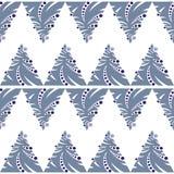 Άνευ ραφής σχέδιο του αφηρημένου μπλε χριστουγεννιάτικου δέντρου στο άσπρο backgr Στοκ Εικόνα