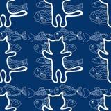 Άνευ ραφής σχέδιο του διανύσματος γατών και ψαριών Στοκ Εικόνες
