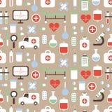 Άνευ ραφής σχέδιο του ιατρικού και διανύσματος υγείας Στοκ φωτογραφία με δικαίωμα ελεύθερης χρήσης