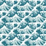 Άνευ ραφής σχέδιο του μεγάλου κύματος από Kanagawa Στοκ Εικόνες