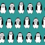 Άνευ ραφής σχέδιο του σκίτσου penguins Στοκ Εικόνες