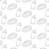 Άνευ ραφής σχέδιο του χοτ-ντογκ και ένα φλυτζάνι με ένα άχυρο Στοκ φωτογραφία με δικαίωμα ελεύθερης χρήσης