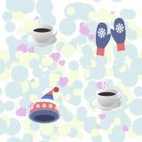 Άνευ ραφής σχέδιο - το φλυτζάνι του καυτού καφέ, θερμαίνει την πλεκτή ΚΑΠ και τα γάντια Στοκ εικόνες με δικαίωμα ελεύθερης χρήσης