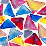 Άνευ ραφής σχέδιο τριγώνων Watercolor Στοκ Εικόνες