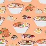 Άνευ ραφής σχέδιο τροφίμων νουντλς Στοκ Φωτογραφίες