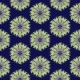Άνευ ραφής σχέδιο τυπωμένων υλών Λουλούδια Mandala με το μπλε υπόβαθρο Στοκ Φωτογραφία