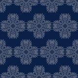Άνευ ραφής σχέδιο τυπωμένων υλών Λουλούδια Mandala με το μπλε υπόβαθρο Στοκ φωτογραφία με δικαίωμα ελεύθερης χρήσης