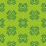 Άνευ ραφής σχέδιο τυπωμένων υλών Λουλούδια Mandala με το πράσινο υπόβαθρο Στοκ φωτογραφίες με δικαίωμα ελεύθερης χρήσης