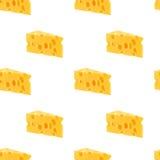 Άνευ ραφής σχέδιο τυριών που απομονώνεται στο άσπρο υπόβαθρο Στοκ Εικόνες