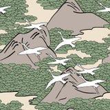 Άνευ ραφής σχέδιο των άσπρων πουλιών που πετούν πέρα από ένα τοπίο βουνών Στοκ εικόνες με δικαίωμα ελεύθερης χρήσης