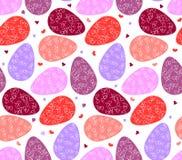 Άνευ ραφής σχέδιο των αυγών και των καρδιών Πάσχας Στοκ Φωτογραφίες