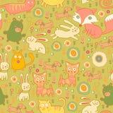 Άνευ ραφής σχέδιο των γατών και των κουνελιών doodle διανυσματική απεικόνιση