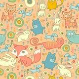 Άνευ ραφής σχέδιο των γατών, των αλεπούδων, και των κουνελιών doodle Στοκ Φωτογραφίες