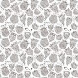 Άνευ ραφής σχέδιο των γενειάδων και eyeglasses doodles Στοκ εικόνα με δικαίωμα ελεύθερης χρήσης