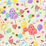 Άνευ ραφής σχέδιο των γλυκών, καραμέλα βαμβακιού, lollipops, μπαλόνια ελεύθερη απεικόνιση δικαιώματος