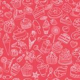 Άνευ ραφής σχέδιο των γλυκών στο διάνυσμα Στοκ Φωτογραφίες
