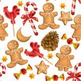 Άνευ ραφής σχέδιο των γλυκών Χριστουγέννων ελεύθερη απεικόνιση δικαιώματος